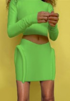 Herbstgrünes, langärmliges Top und Tube Citron Minikleid Set