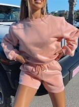 Herbst Casual Pink Langarm Top und Shorts Set