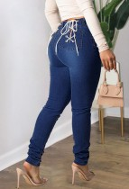 Herbst Sexy Dunkelblaue Backside Bandage Fitted Jeans