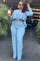 Conjunto de pantalón de cintura alta y top corto con volantes de otoño azul