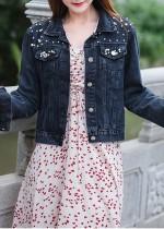 Autunno Plus Size Giacca di jeans a maniche lunghe con perline nere