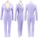 Herfst paarse skinny jumpsuit met lange mouwen en rits