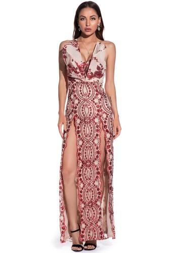 秋のエレガントな赤いスパンコールストラップレススプリットイブニングドレス