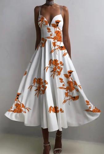 秋のエレガントなフローラルホワイトスウィートハートストラップスケータードレス