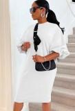 Herbst beiläufiges weißes Puffärmel-O-Ausschnitt langes Hemdkleid