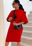 Herbst beiläufiges rotes Puffärmel-O-Ausschnitt langes Hemdkleid