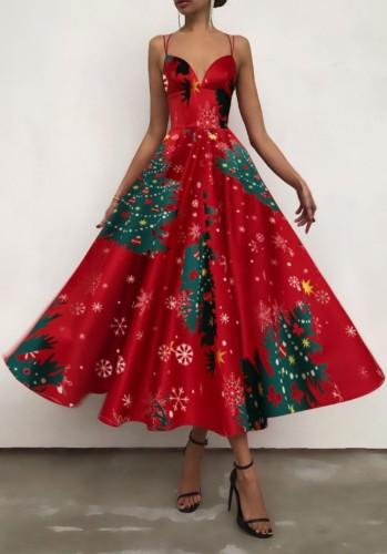 秋のエレガントなクリスマスツリープリント赤い恋人ストラップスケータードレス
