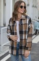 Autumn Casual Brown plaid Long Sleeve Loose Shirt