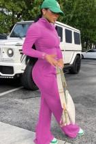 Conjunto de pantalones sueltos con cremallera y top corto con cremallera de manga larga rosa casual de otoño