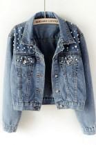 Giacca di jeans a maniche lunghe con perline blu autunno plus size