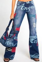 Jeans acampanados ajustados de cintura alta con estampado de moda de otoño