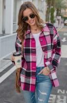 Autumn Casual Rose plaid Long Sleeve Loose Shirt