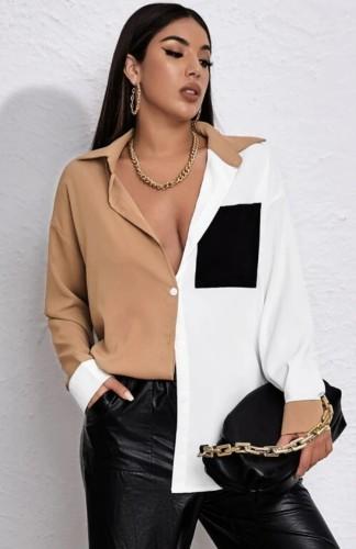 Blusa de manga larga de retazos de moda de otoño
