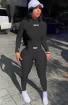 Autunno sexy nero manica lunga collo midi top lavorato a maglia e pantaloni slim abbinati