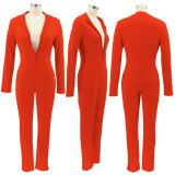 Herfst oranje skinny jumpsuit met lange mouwen en rits