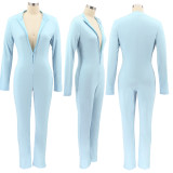 Herfstblauwe skinny jumpsuit met lange mouwen en rits