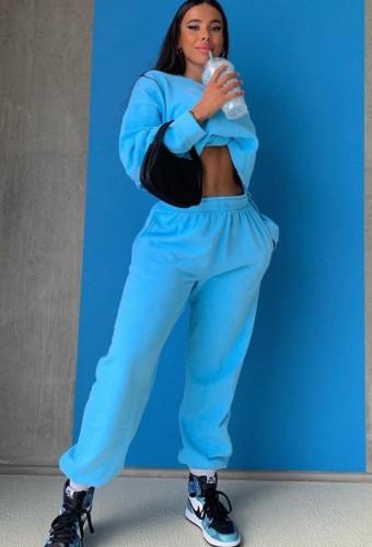 秋のカジュアルブルールーズ長袖クロップスウェットスーツ