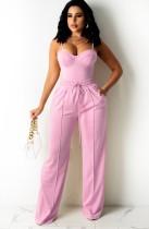 Sommer Casual Pink Basic Trägerweste und Jogginghose passendes Set