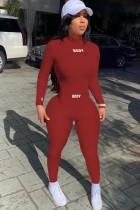 Herbst Sexy Rot Langarm Midi Neck Stricktop und Passende Slim Pants Set