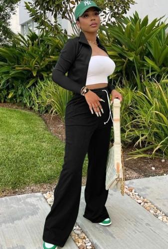 Set di pantaloni larghi con zip e maniche lunghe nere casual autunnali a maniche lunghe con coulisse