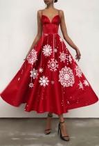 Vestito a pieghe con cinturini a cuore rosso con fiocco di neve elegante autunnale