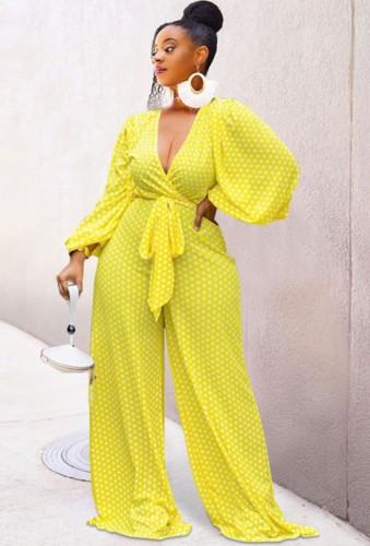 Herfst gele polkadot wrap pofmouw losse jumpsuit