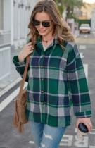 Autumn Casual Green plaid Long Sleeve Loose Shirt