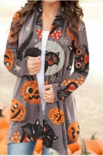 Cárdigan sin cuello de manga larga con estampado especial de Halloween de otoño