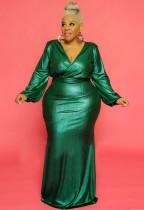 Vestido de noche de manga abullonada con cuello en V brillante verde de talla grande de otoño