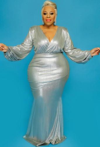 Vestido de noite outono plus size prata brilhante com decote em V e manga comprida