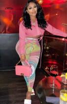 Set camicia corta rosa autunnale e pantaloni slim multicolori a vita alta