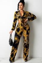 Set di pantaloni e camicetta a maniche lunghe annodati con motivo floreale nero a catena sexy autunnale