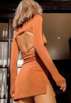 Autumn Sexy Brown Velvet Long Sleeve Backless Mini Dress