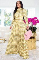 Fall Yellow Plaid Long Sleeve Top and Wide Pants Set