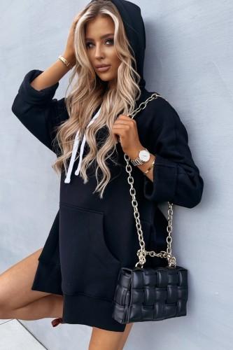 Vestido casual outono com capuz de bolso extra grande