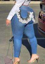 Fall Plus Size Blue Ruffled Pocket Slim Jeans