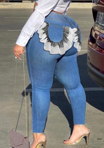 Sonbahar Büyük Beden Mavi Fırfırlı Cepli Slim Jeans