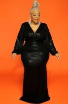 Vestido de noche de manga abullonada con cuello en V brillante negro de talla grande de otoño