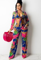 Set di pantaloni e camicetta a maniche lunghe annodate con motivo floreale rosa a catena sexy autunnale