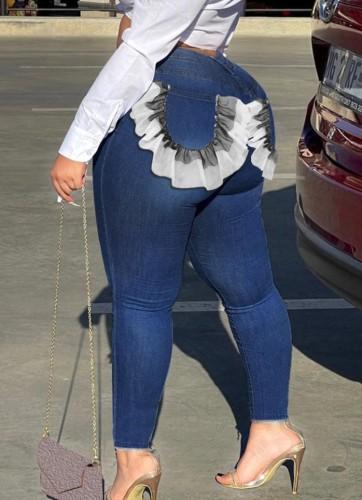 Herfst Plus-maat donkerblauwe slimfit jeans met ruches