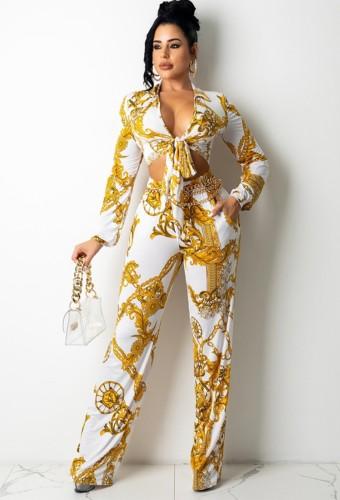 Set di pantaloni e camicetta a maniche lunghe annodate con motivo floreale bianco a catena sexy autunnale