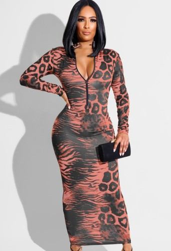 Autumn Sexy Red Snake Printed Zip Up Long Dress