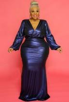 Vestido de noche de manga abullonada con cuello en V brillante azul de talla grande de otoño