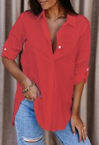 Camicia abbottonata rossa causale autunnale