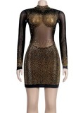 Güz Seksi Boncuklu Uzun Kollu Transparan Mini Club Elbise
