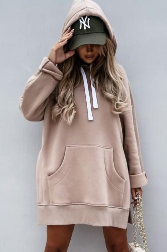 Vestido casual de outono marrom grande com capuz de bolso