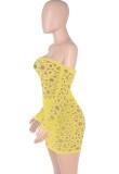 Otoño sexy encaje amarillo fuera del hombro manga larga en el interior con minivestido calzoncillos