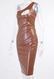 Vestido ajustado sin mangas de un hombro marrón sexy de verano