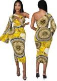 Vestido largo de un hombro con estampado retro amarillo de Autumn Casaul