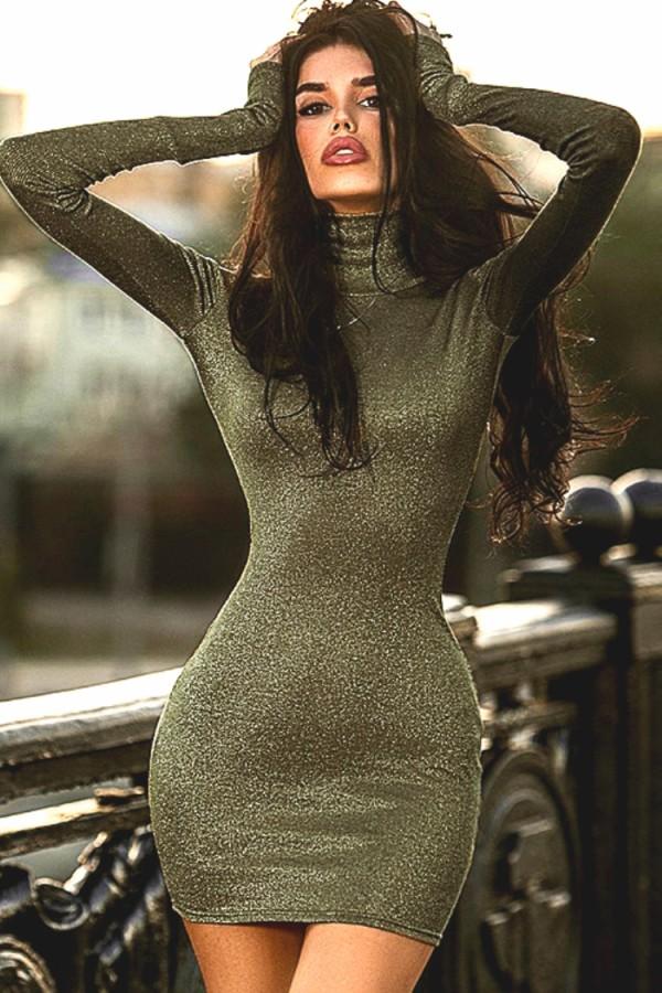 Vestido ajustado de manga larga con cuello alto verde sexy de otoño
